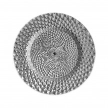 """The Jay Companies 1470333 Round Istanbul Silver Glass Charger Plate 13"""""""