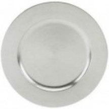 Jay Imports TRS-6629 Acrylic Silver Beaded Round Charger Plate