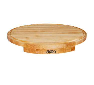 "John Boos CCS24180125 Oval Maple Countertop Board with Groove 24"" x 18"" x 1-1/4"""