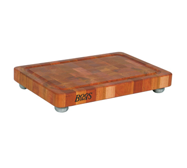 "John Boos CHY-1812175-SSF Cherry Wood Cutting Board with Feet 18"" x 12"""
