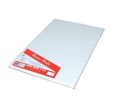 "John Boos P216N Reversible White Poly Cutting Board with Hand Slot 10"" x 17"""