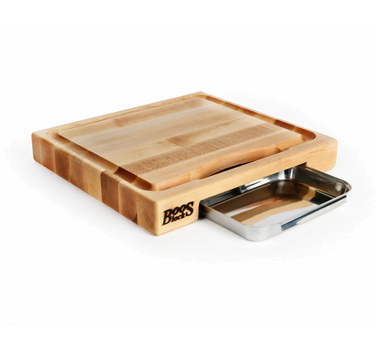 "John Boos PM18180225-P-RK Maple Cutting Board with Pan and Rocker Knife 18"" x 18"" x 2-1/4"""