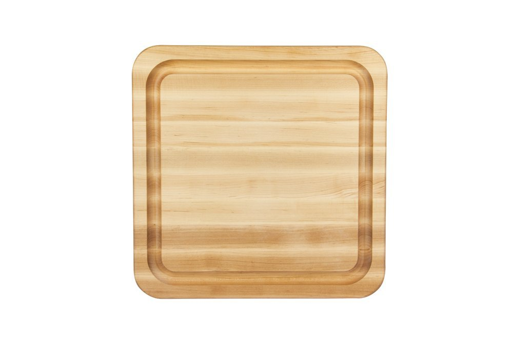 "John Boos RAD1818-GRV Grooved Maple Cutting Board with Grips 18"" x 18"""