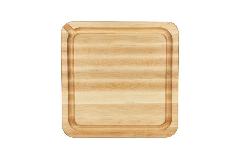 "John Boos RAD1818-GRV-S Grooved Maple Cutting Board with Pour Spout 18"" x 18"" x 2-1/4"""