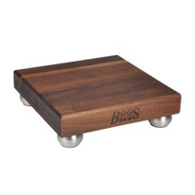 "John Boos WAL-12SS-3 Gift Collection Walnut Cutting Board with Stainless Steel Feet 12"" x 12"" x 1-1/2"""