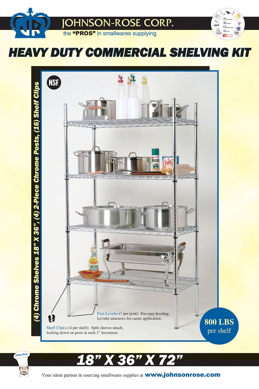 Johnson Rose 11501 Retail Wire Shelving Kit With 18