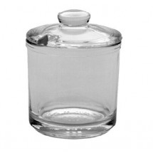 "Johnson Rose 6700 3-1/4"" X 2-3/4"" 6 oz Condiment Jar With Plastic Cover With A Spoon Notch"