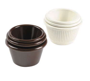 Johnson Rose 9342 Brown Fluted Melamine Ramekin 2-1/2 oz