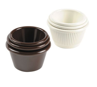 Johnson Rose 9344 Brown Fluted Melamine Ramekin 4-1/2 oz