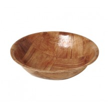 "Johnson Rose 9414 14"" Woven Keyaki Wood Salad Bowl"