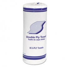 """Kitchen Roll Towels, 2-Ply, 11"""", White, 85/Roll, 30 Rolls/Carton"""