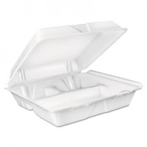 Dart Foam Hinged Lid Container, 3 Compartmentartment, 8 oz, White, 9 x 9.4 x 3,  200/Carton