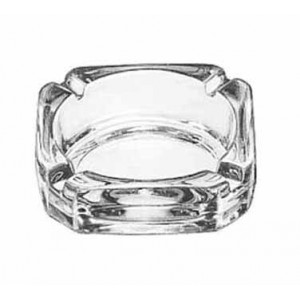 Libbey 5143 Square Glass Ashtray 3-3/4