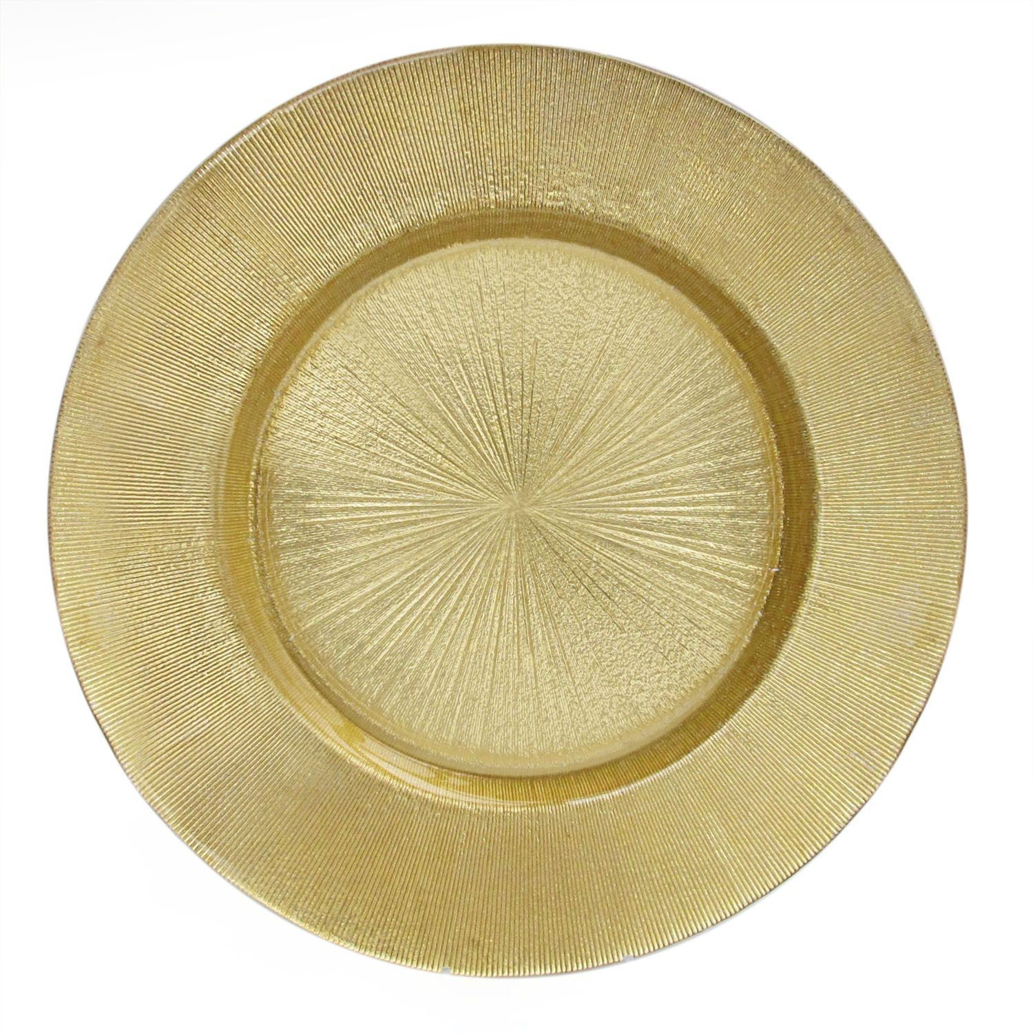 The Jay Companies 1900013 Round Glass Gold Star Burst Charger Plate 13""