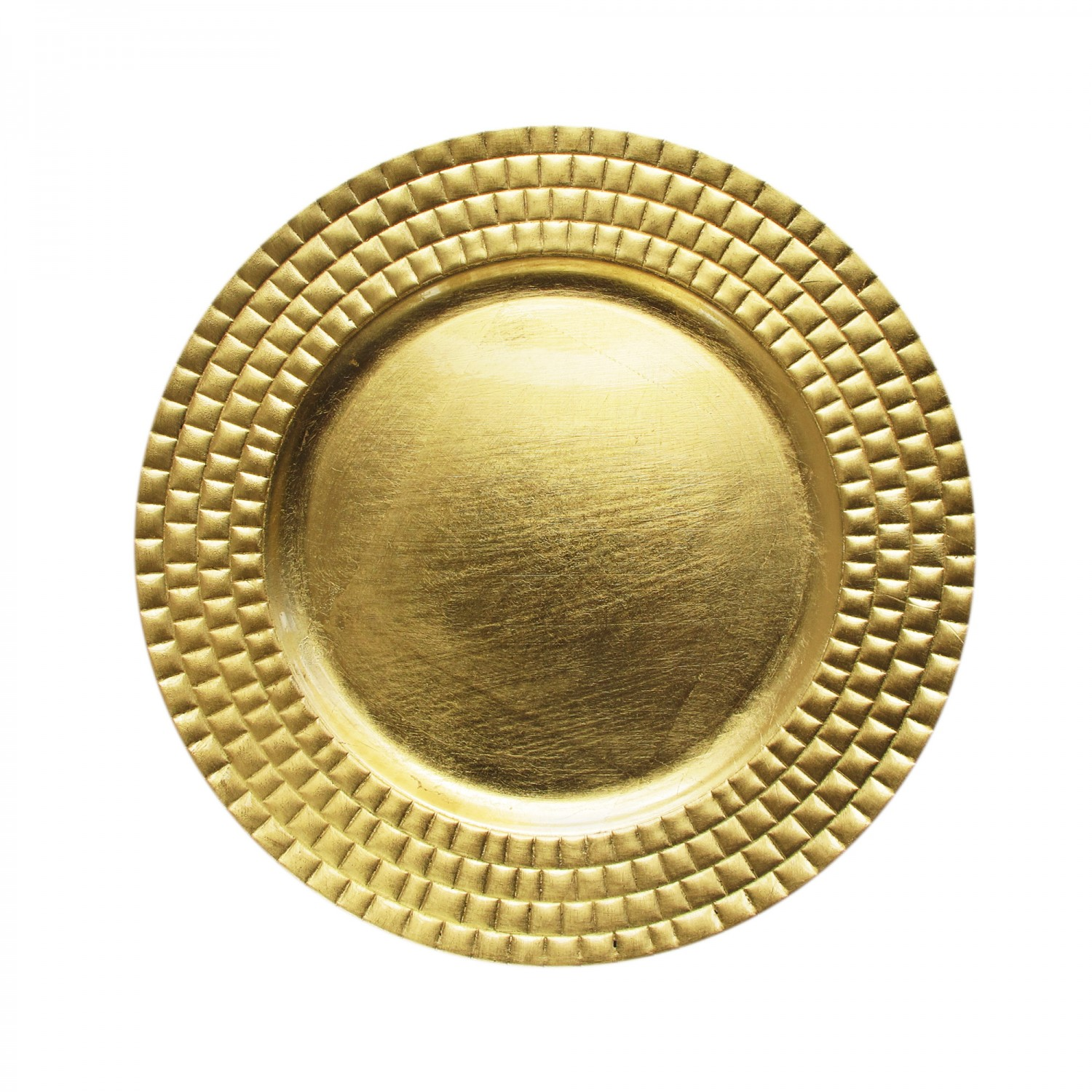 The Jay Companies 1182769 Round Gold Tiled Charger Plate 13""