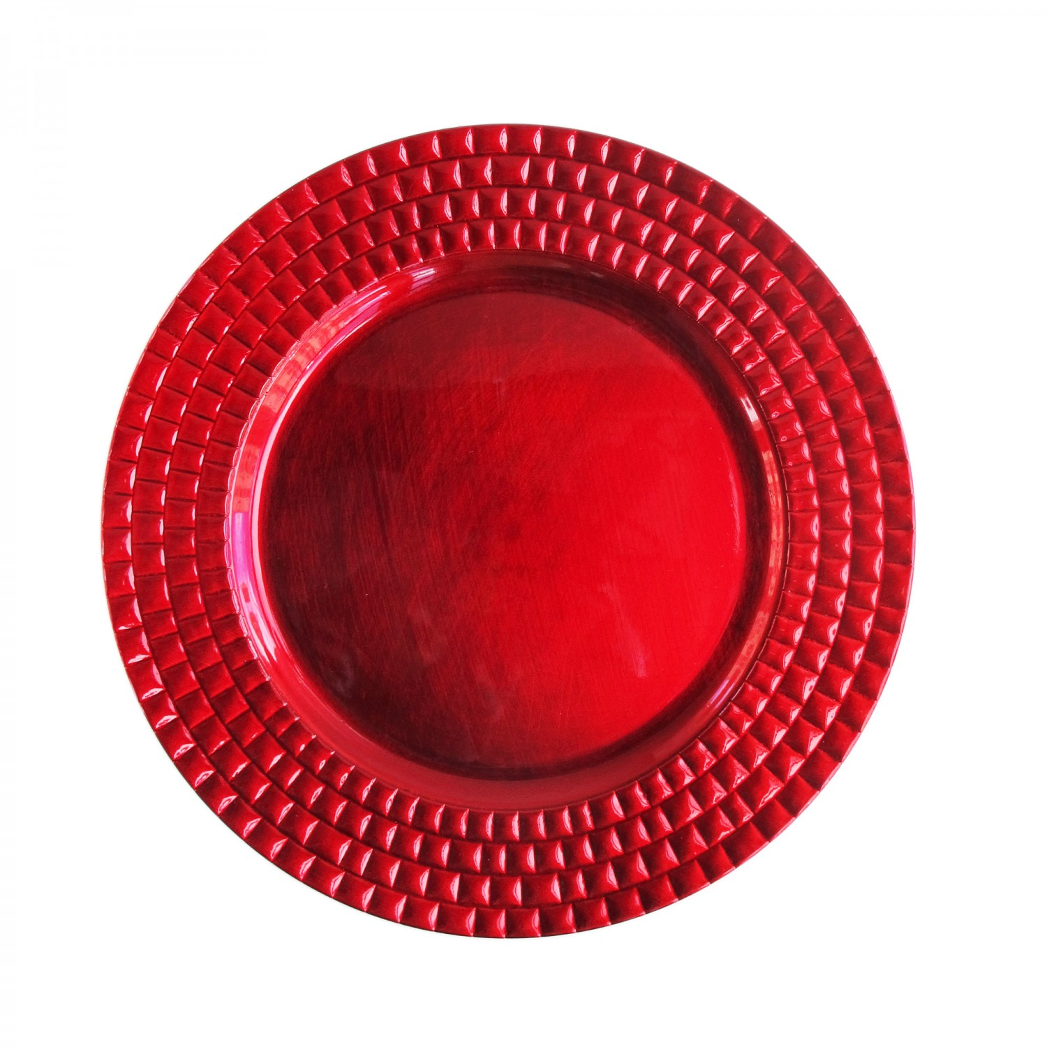 The Jay Companies 1182771 Round Red Tiled Charger Plate 13""