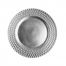 The Jay Companies 1182770 Round Silver Tiled Charger Plate 13""