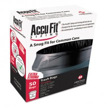 """Linear Low Density Can Liners with AccuFit Sizing, 44 gal, 0.9 mil, 37"""" x 50"""", Black, 50/Box"""