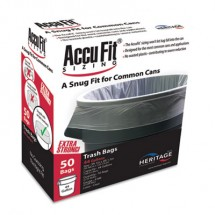 """Linear Low Density Can Liners with AccuFit Sizing, 44 gal, 0.9 mil, 37"""" x 50"""", Clear, 50/Box"""
