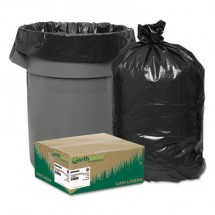 """Linear Low Density Recycled Can Liners, 45 gal, 1.65 mil, 40"""" x 46"""", Black, 100/Carton"""