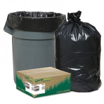 """Linear Low Density Recycled Can Liners, 60 gal, 1.65 mil, 38"""" x 58"""", Black, 100/Carton"""