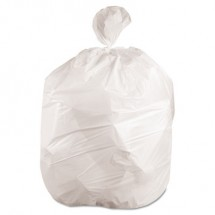 """Low-Density Waste Can Liners, 56 gal, 0.6 mil, 43"""" x 47"""", White, 100/Carton"""