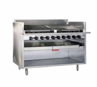 Magikitch'n FM-RMB-672 Floor Model Cast Iron Radiant Gas Charbroiler 72""