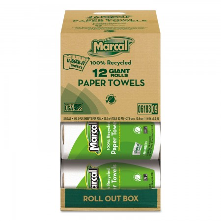 Marcal 100% Recycled 2-Ply Roll Paper Towels, 12 Rolls/Carton