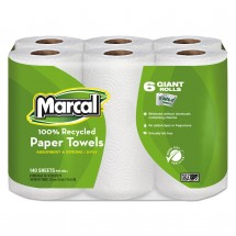 Marcal 100% Recycled 2-Ply Roll Paper Towels, 140 Roll, 24 Rolls/Carton