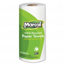 Marcal 100% Recycled Roll 2-Ply Towels, 15 Rolls/Carton