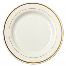 """Masterpiece Ivory with Gold Accents Plastic Plates, 9"""", 120/Carton"""