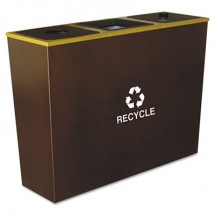 Metro Collection Recycling Receptacle, Triple Stream, Steel, 54 gal, Brown
