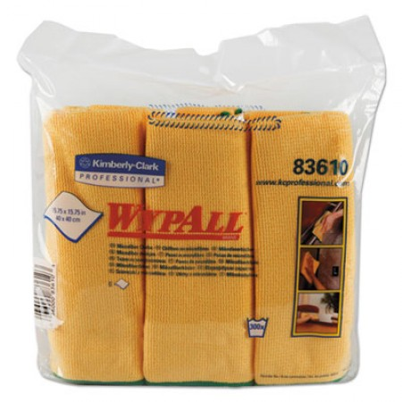 WypAll Reusable Microfiber Cloths, Yellow, 15 3/4 x 15 3/4, 24/Carton