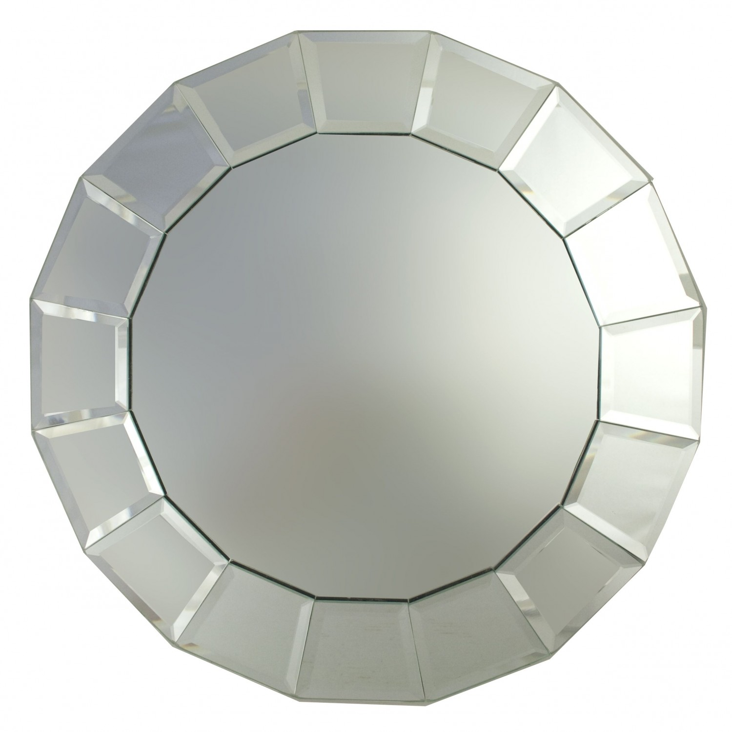 The Jay Companies 1330094 Round Beveled Block Glass Mirror Charger Plate 13""
