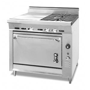 Montague 136-11E 36 Legend Heavy Duty Gas Range With Two Open Burners & Even Heat Hot Top