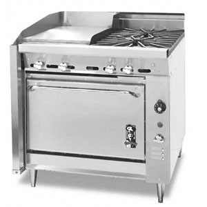 Montague 136-13 Legend 36 Heavy Duty Gas Range With Fry Top & Two Open Burners