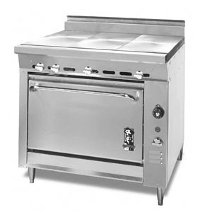 Montague 136-9E Legend 36 Heavy Duty Gas Range With Three 12 Even Heat Hot Tops