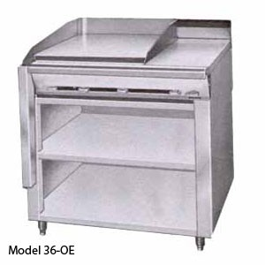 Montague 36-12PL Legend 36 Heavy Duty Gas Range With 18 Plancha Top & 18 Ring / Cover Hot Top With Open Cabinet Base