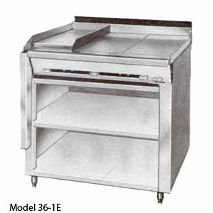 Montague 36-1G Legend 36 Heavy Duty Gas Range With 12 Fry Top & 12 Gradient Heat Top With Open Cabinet Base