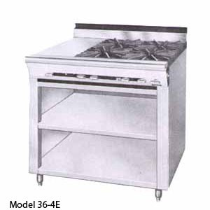 Montague 36-4G Legend 36 Heavy Duty Gas Range With 12 Gradient Heat Top & Four 12 Open Burners With Open Cabinet Base
