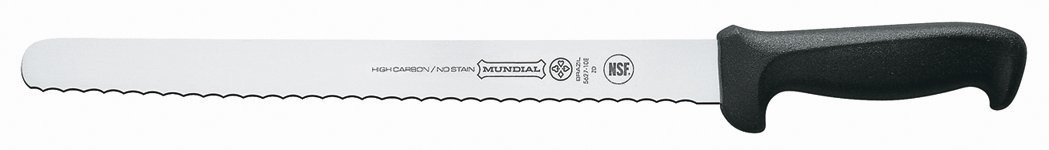 Mundial 5627-12E 12-Inch Serrated Edge Slicing Knife, Black