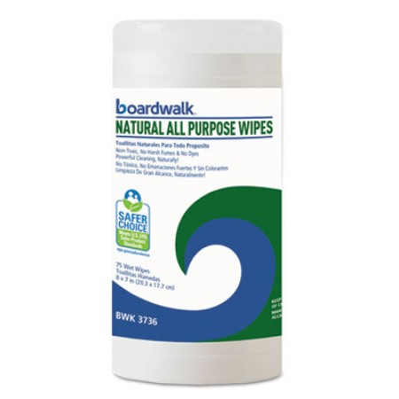 Boardwalk Natural All Purpose Wipes, Unscented, 6 Canisters/Carton