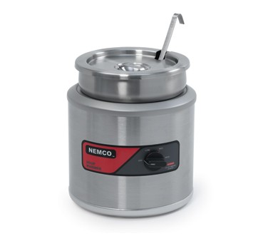 Nemco 6100A-ICL-220 Countertop Round Warmer with Inset, Cover and Ladle  7 Qt. Export