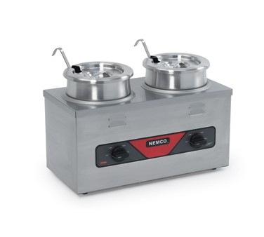 Nemco 6120A-CW-ICL Countertop Twin Well Food Cooker / Warmer with Inset, Cover and Ladle  4 Qt.