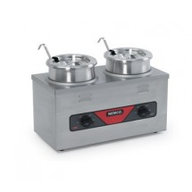 Nemco 6120A-ICL-220 Countertop Twin Well Food Warmer with Inset, Cover and Ladle  4 Qt.  Export