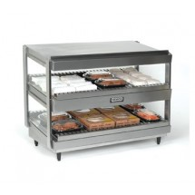 "Nemco 6480-18S Stainless Steel Slanted Double Shelf Merchandiser 18"" - 120V"