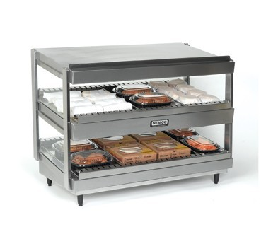 "Nemco 6480-24 Stainless Steel Horizontal Double Shelf Merchandiser 24"" - 120V"
