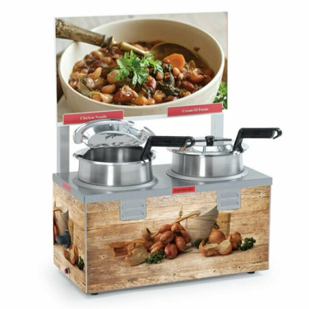 Nemco 6510A-2D4 Double Well Soup Warmer with Header 4 Qt. - 120V, 1000W