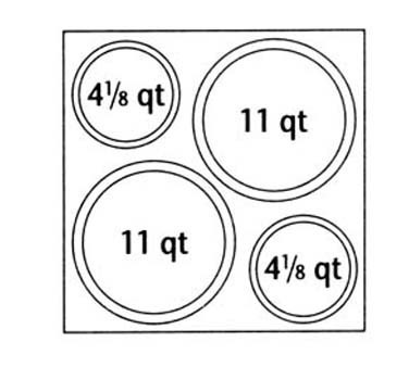 Nemco 67410 4-Hole Adapter Plate for Round Inset Pans (2) 4-1/8 Qt. and (2) 11 Qt.