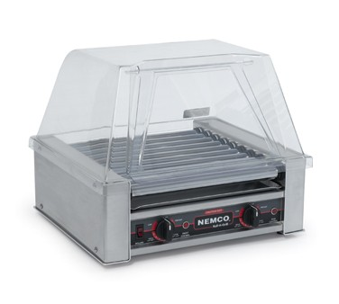 Nemco 8018SX Roll-A-Grill Hot Dog Grill with 10 Gripslt Coated Rollers